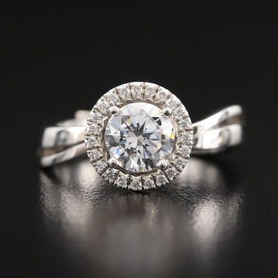 14K Diamond Semi-Mount Ring with Cubic Zirconia Center Stone