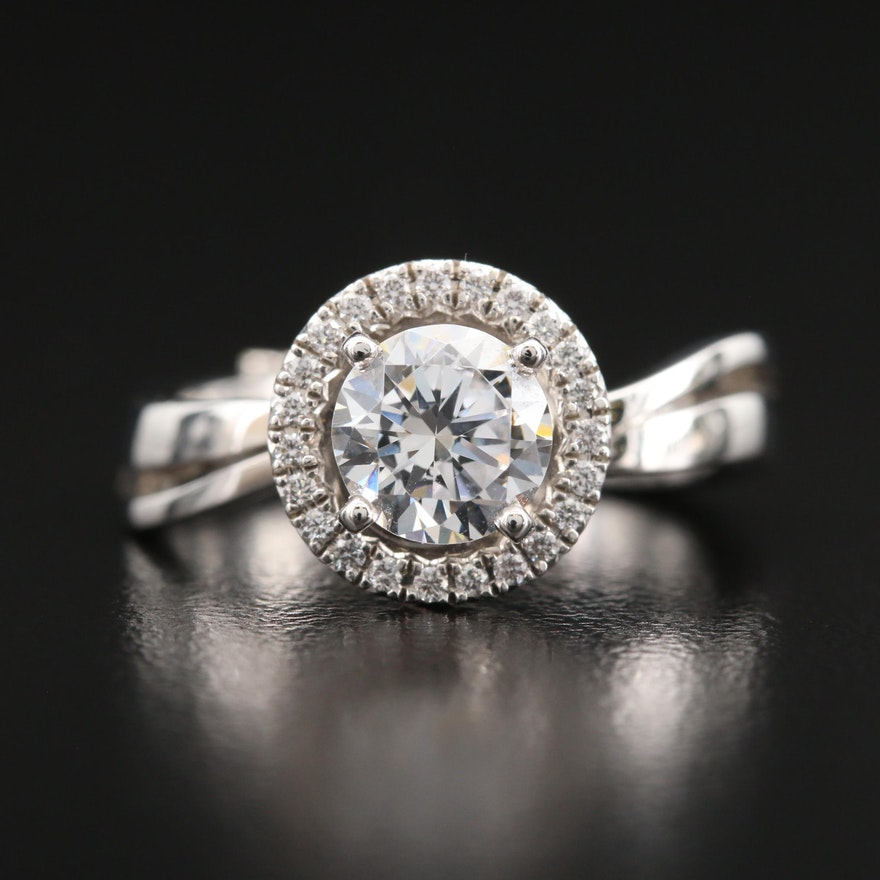14K Diamond Semi-Mount Ring with Cubic Zirconia Center Stone