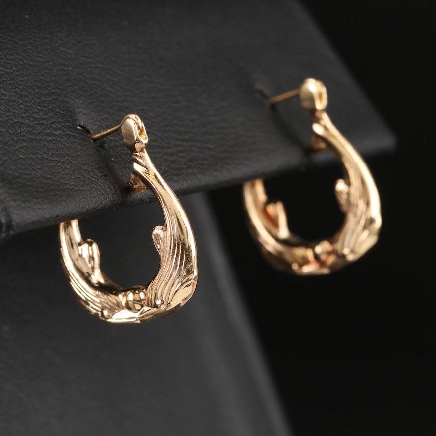 14K Twin Dolphin Hoop Earrings