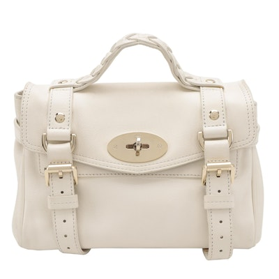 Mulberry Alexa Two-Way Mini Satchel in White Buffalo Leather