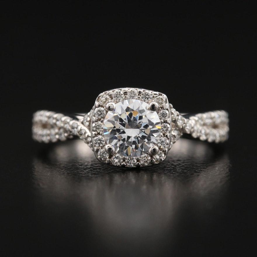 14K Diamond Semi Mount Ring with Cubic Zirconia Center
