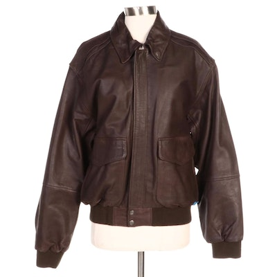 Men's Reed Brown Leather Bomber Style Jacket