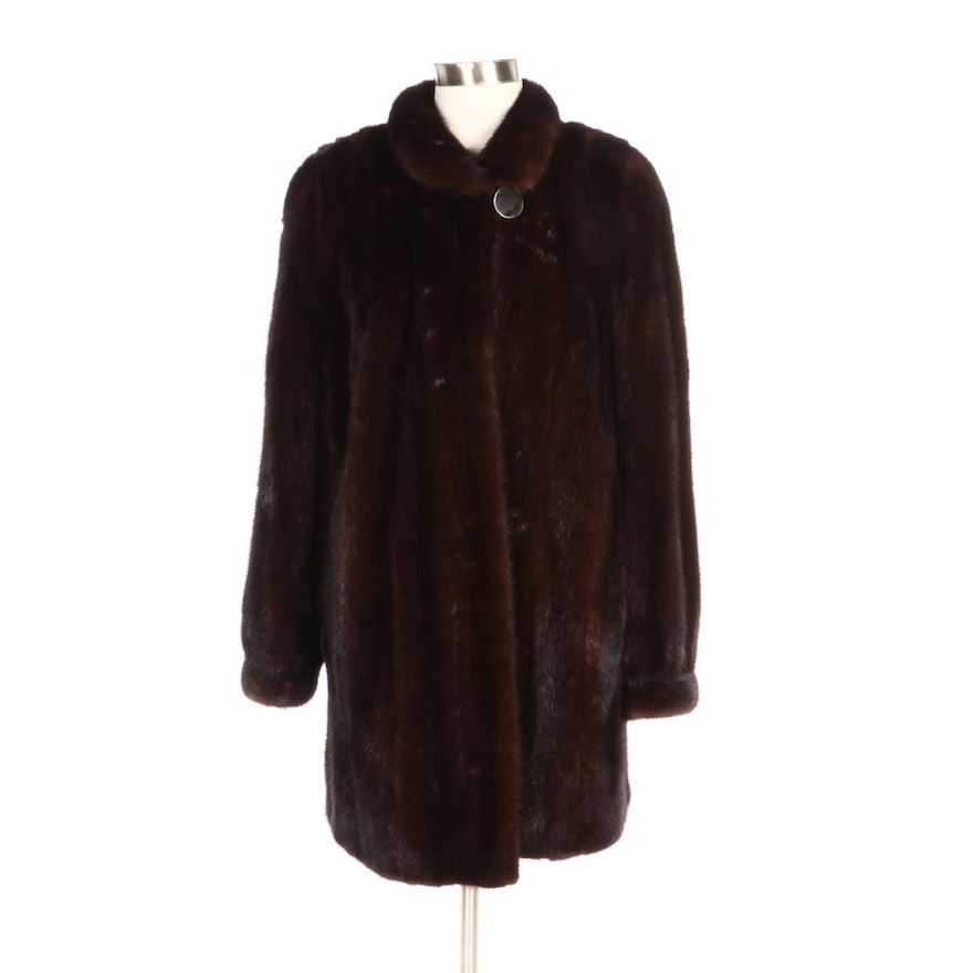 Mink Fur Stroller Coat with Tapered Cuffs