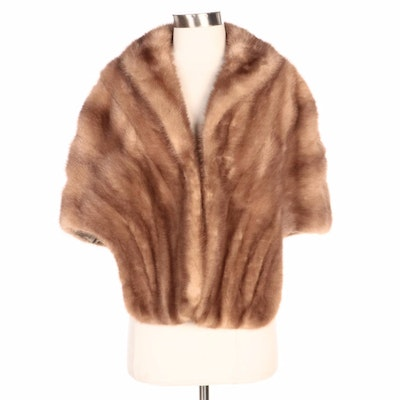 Pastel Mink Fur Stole with Shawl Collar