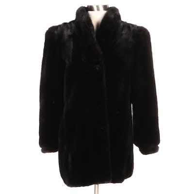 Black Mink Fur Coat with Gucci Accessory Collection Equestrian Twill Lining