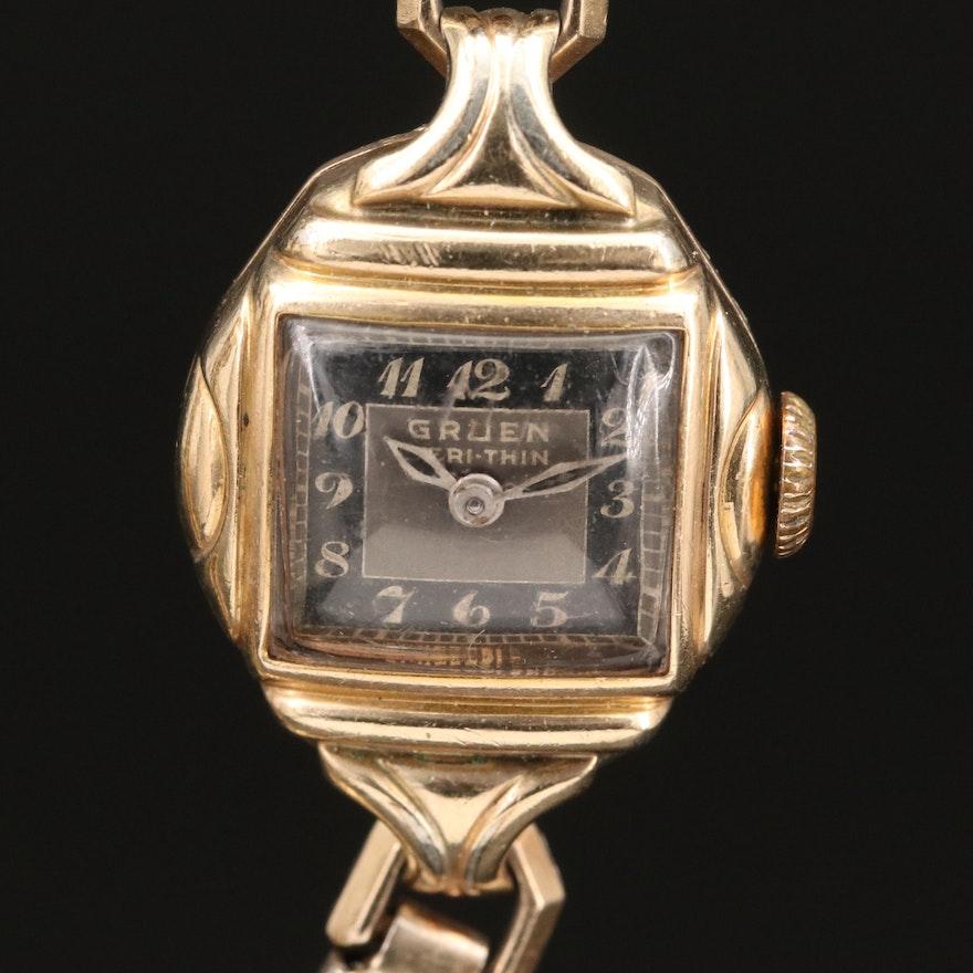 1940 Gruen Veri-Thin Stem Wind Wristwatch