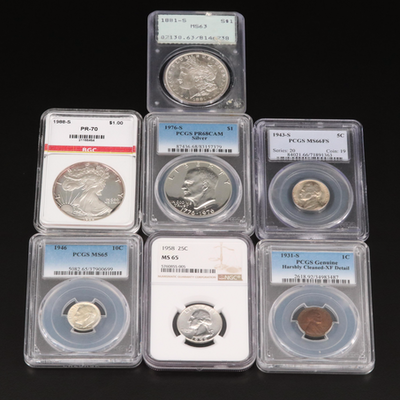 Seven Slabbed U.S. Coins, Including Key Dates