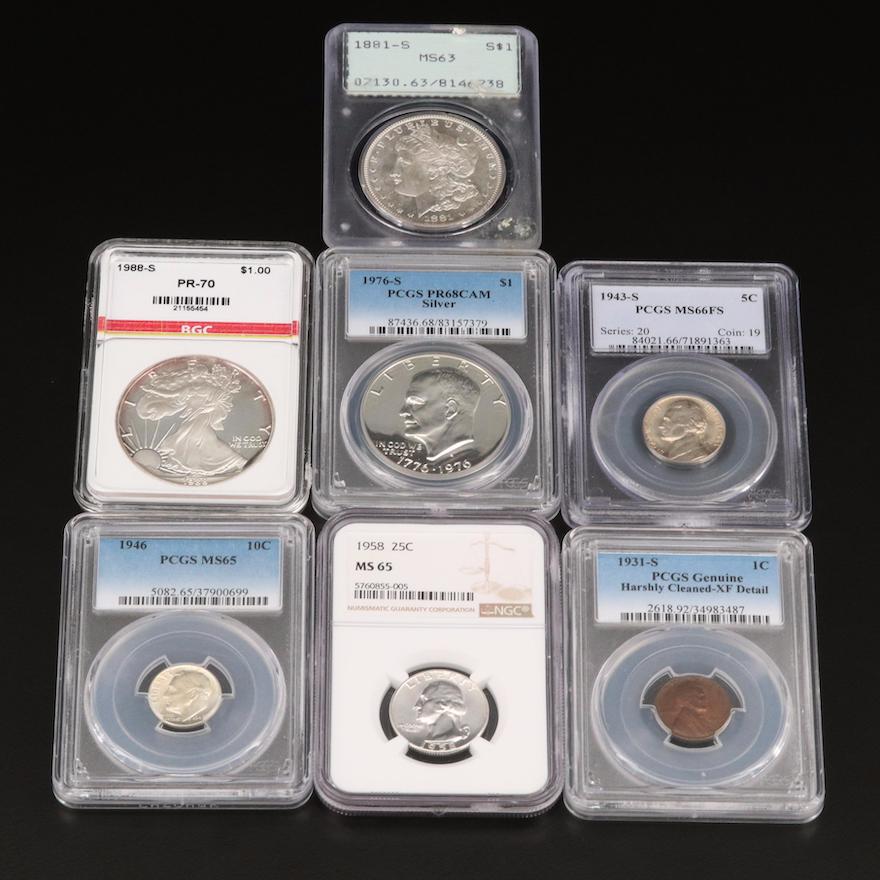 Seven Slabbed U.S. Coins, Including Key Dates