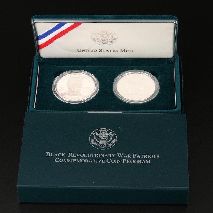 1998 Black Revolutionary War Patriots 2-Coin Silver Dollar Set