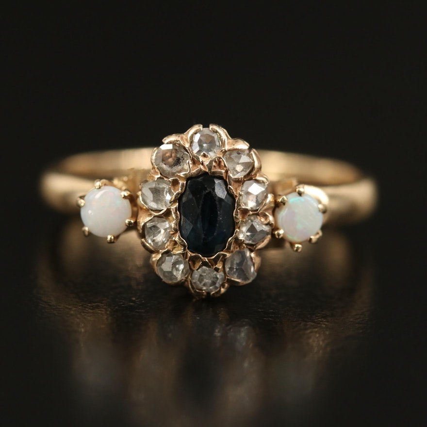 Vintage 14K Sapphire, Opal and Diamond Ring