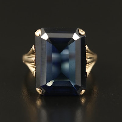 10K Sapphire Solitaire Ring with Fluted Shoulders