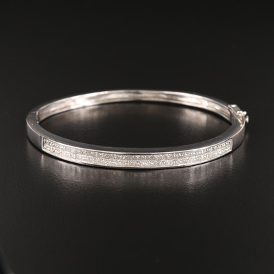 14K 3.17 CTW Diamond Oval Hinged Bangle