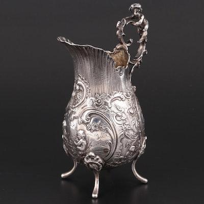 Continental Baroque Revival Style Repoussé 800 Silver Pitcher