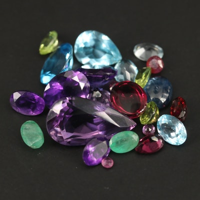 Loose Mixed Gemstones Including Amethyst, Topaz and Peridot
