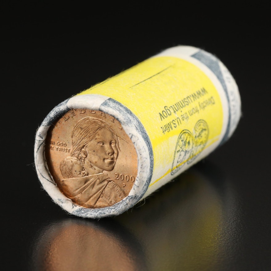 Uncirculated Roll of First Year Issue 2000-P Sacagawea Dollar Coins