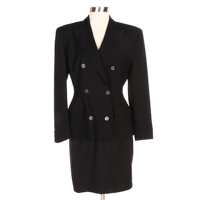 Black Wool Double-Breasted Jacket with Mini Pencil Skirt