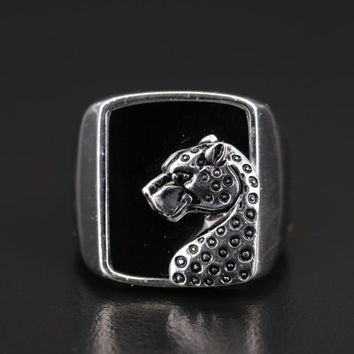 EFFY Sterling Black Onyx, Cubic Zirconia and Enamel Panther Ring