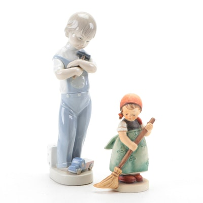 "Lladró ""Mechanic Boy"" and Goebel ""Little Sweeper"" Porcelain Hummel Figurine"
