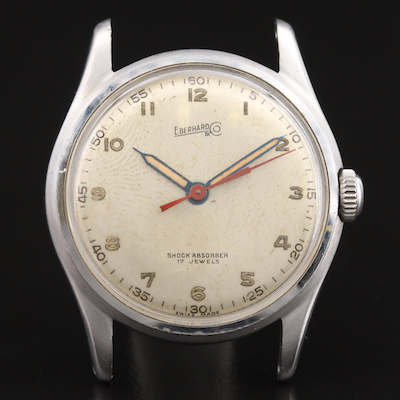 Vintage Eberhard Stainless Steel Stem Wind Wristwatch