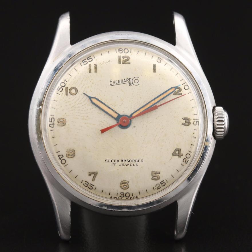 Vintage Eberhard Stainless Steel Stem Wind Wristwatch