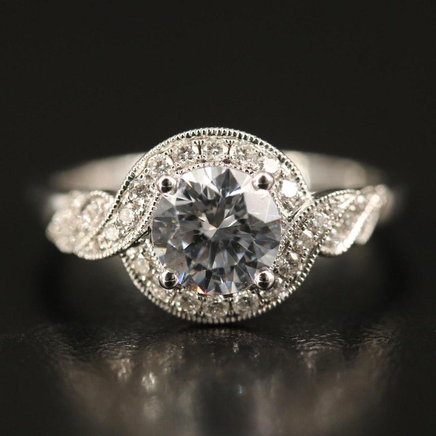 Coast Diamond 14K Diamond Semi-Mount Ring with Cubic Zirconia Center