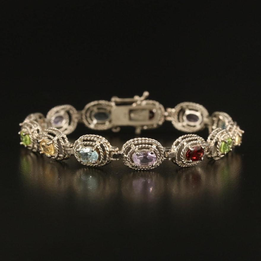 Sterling Garnet, Amethyst, Topaz and Gemstone Oval Rope Link Bracelet