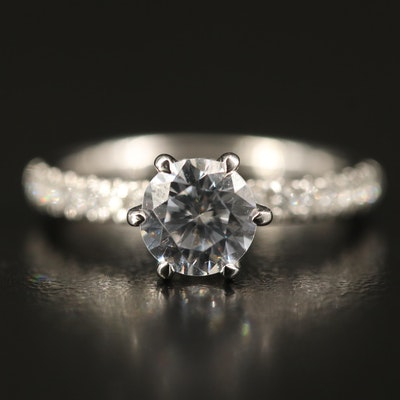 De Beer's Forevermark 14K Diamond Semi-Mount Ring with Cubic Zirconia Center