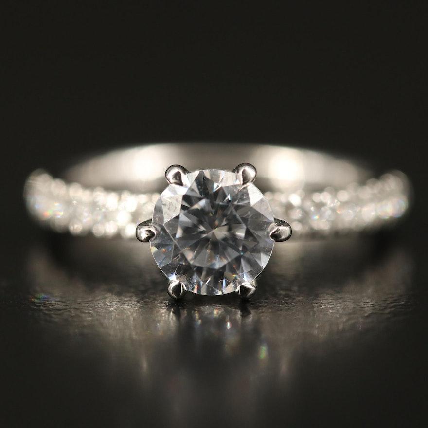 De Beer's Forevermark 14K Diamond Semi-Mount Ring with Cubic Zirconia Center