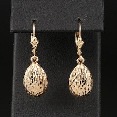 14K Teardrop Earrings with Textured Finish