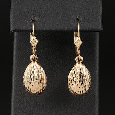14K Teardrop Earrings with Textured Finish