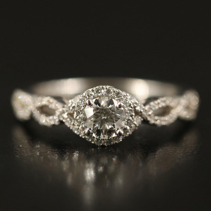 14K Diamond Ring with Twisted Band