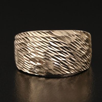 14K Tapered Band with Diamond Cut Finish
