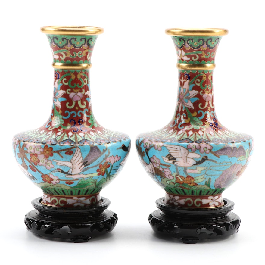 Pair of Chinese Cloisonné Crane Motif Vases with Wood Bases
