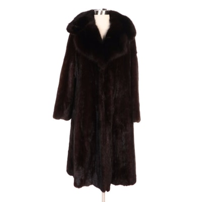 Mahogany Mink Coat with Sable Fur Collar