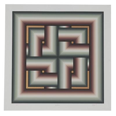 """Jurgen Peters Serigraph """"Interchange,"""" 1980"""