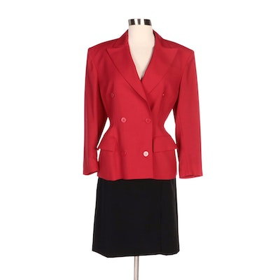 Lillie Rubin Skirt with Leather Trim and Woolmark Double-Breasted Suit Jacket