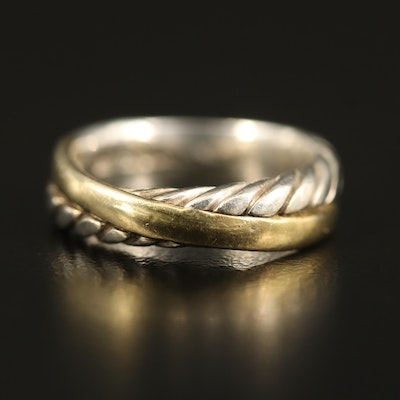 David Yurman Sterling and 18K Crossover Band