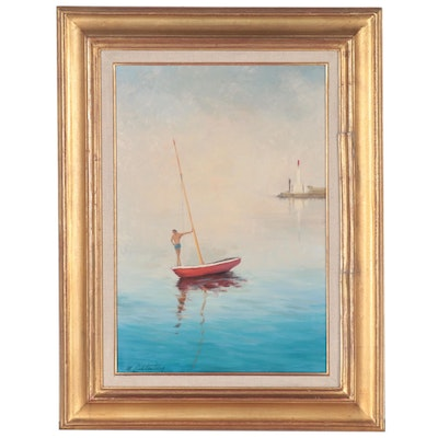 Manes Lichtenberg Oil Painting of a Man and Sailboat