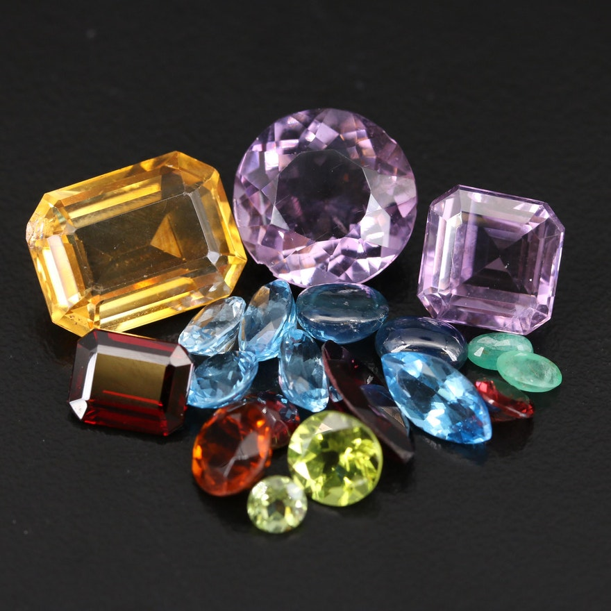 Loose 40.73 CTW Amethyst, Citrine, Topaz and Additional Gemstones