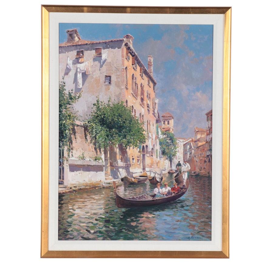 Armando Romano Venetian Canal Scene Oil Painting