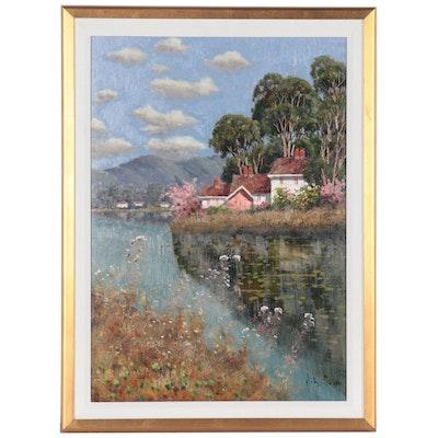 Coastal Village Landscape Oil Painting, circa 2000