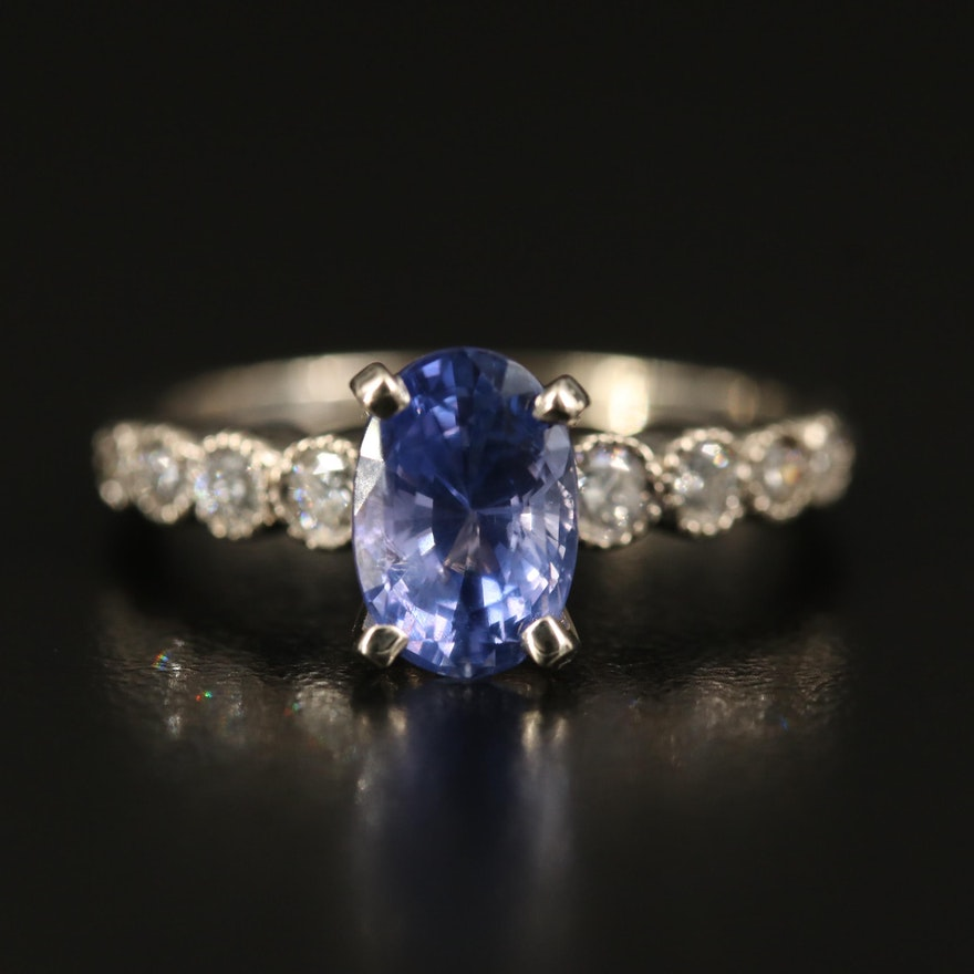 14K 2.19 CT Color-Change Sapphire and Diamond Ring with GIA Report