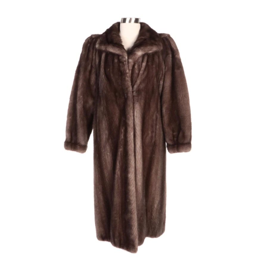 Clément Boivin Cerulean Mink Fur Coat with Banded Cuffs