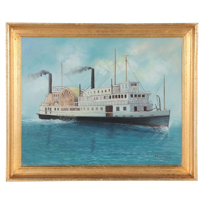 Oil Painting of Riverboat Isaac Newton, Late 20th Century