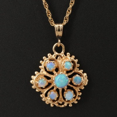 14K Opal Openwork Pendant Necklace