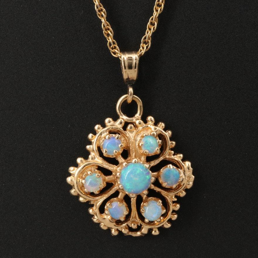 14K Opal Openwork Pendant Necklace
