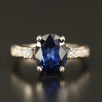 14K 3.75 CT Sapphire and Diamond Ring with GIA Report