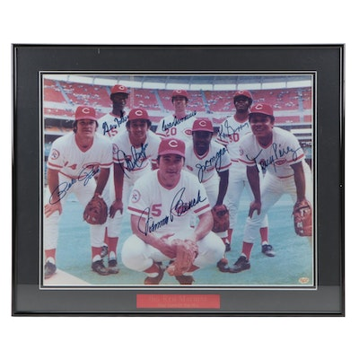 "1975-1976 Cincinnati Reds Signed ""Great Eight"" Framed Photo Print, CEI COA"