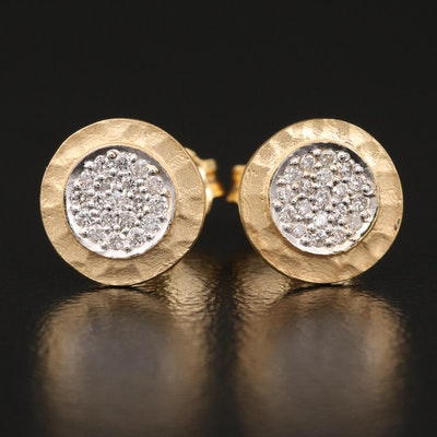 14K Pavé Diamond Stud Earrings with Textured Matte Finish