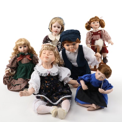 "Julie Good-Krüger ""Rebeccah"" with Other Porcelain and Artist Dolls"